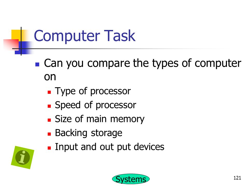 Computer Task Can you compare the types of computer on