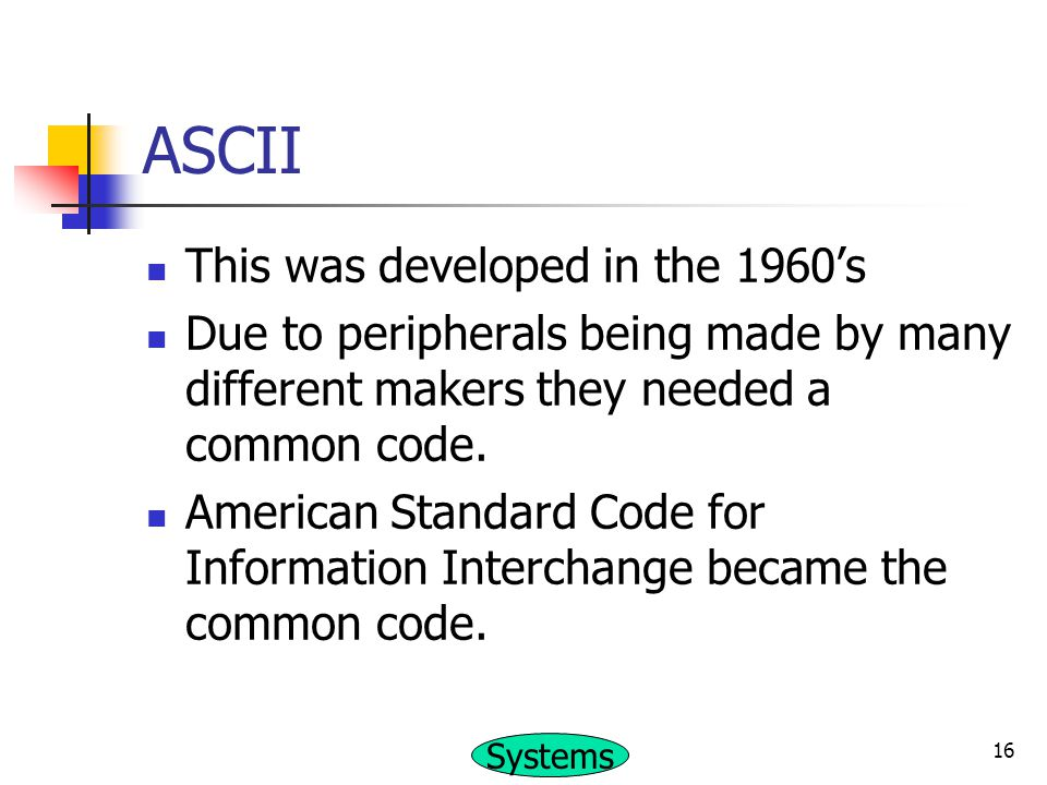 ASCII This was developed in the 1960's