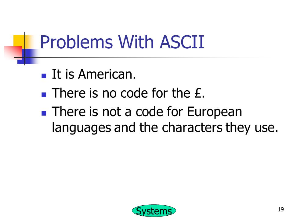Problems With ASCII It is American. There is no code for the £.