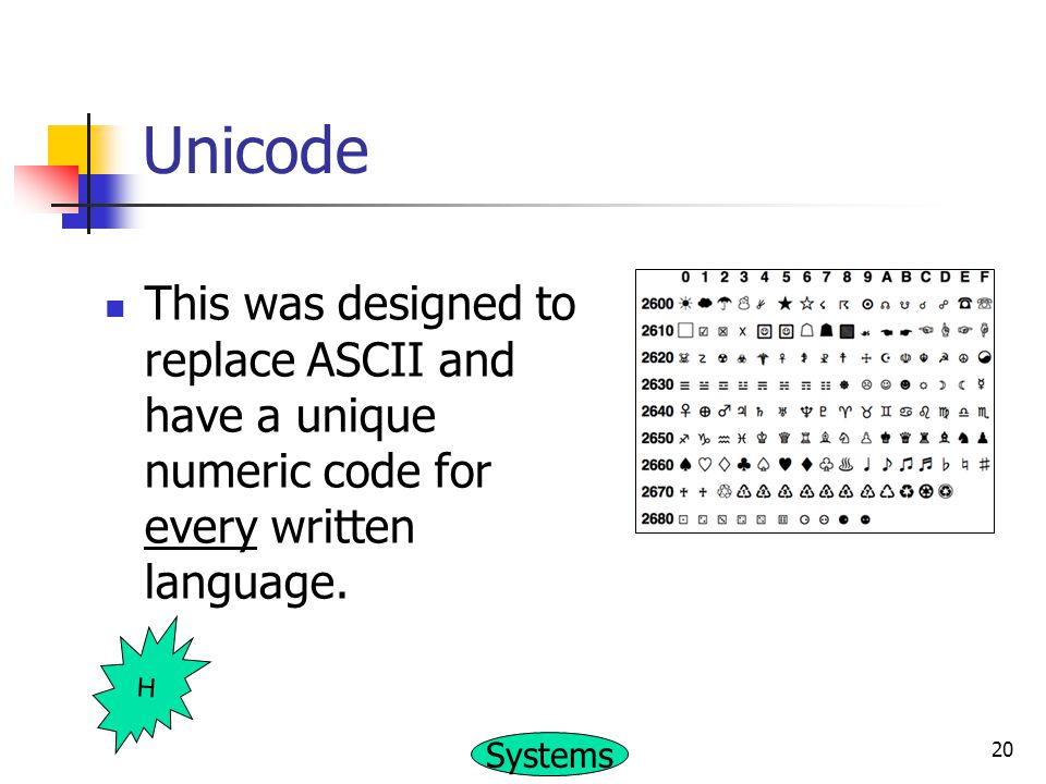 Unicode This was designed to replace ASCII and have a unique numeric code for every written language.