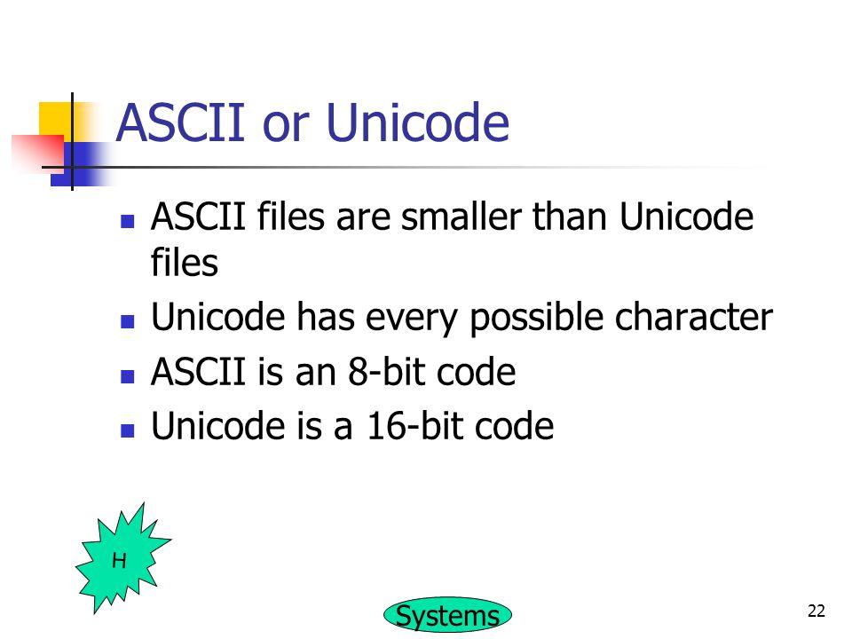 ASCII or Unicode ASCII files are smaller than Unicode files