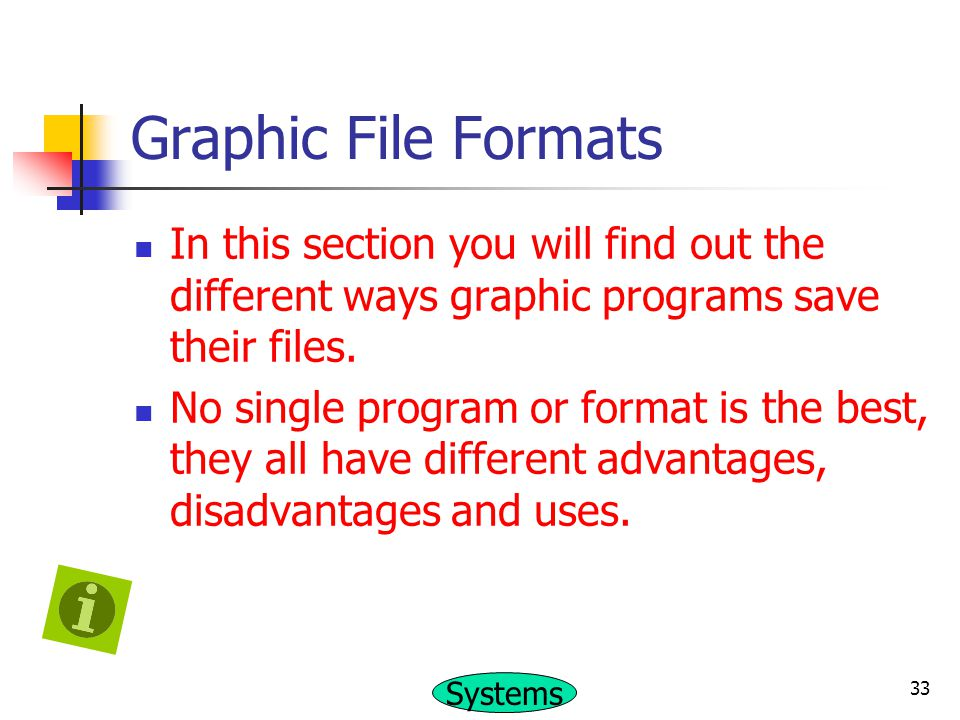 Graphic File Formats In this section you will find out the different ways graphic programs save their files.