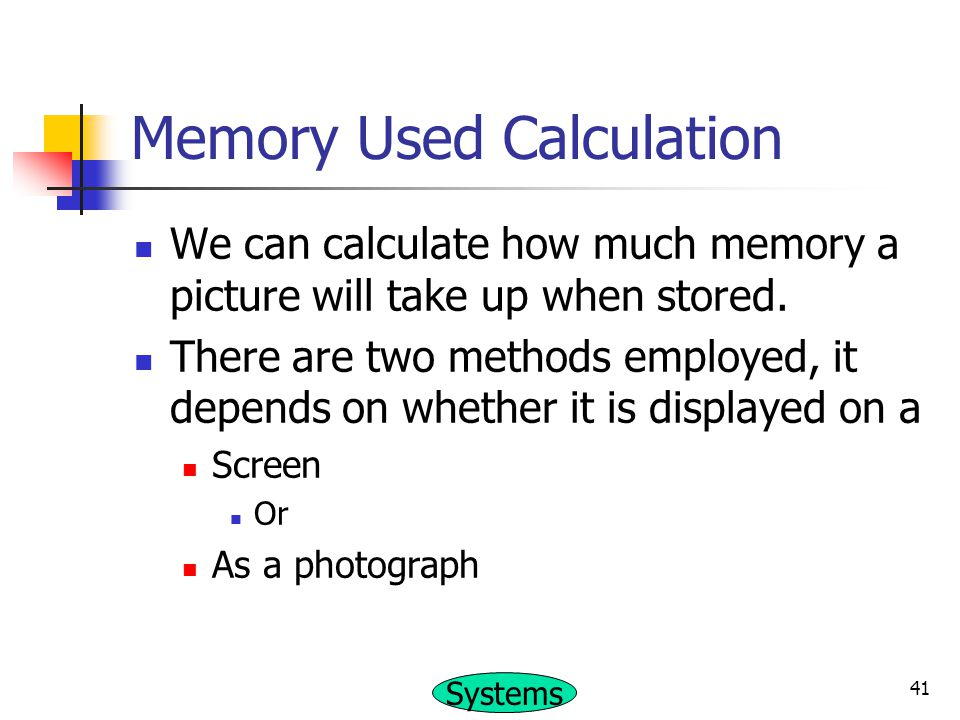 Memory Used Calculation