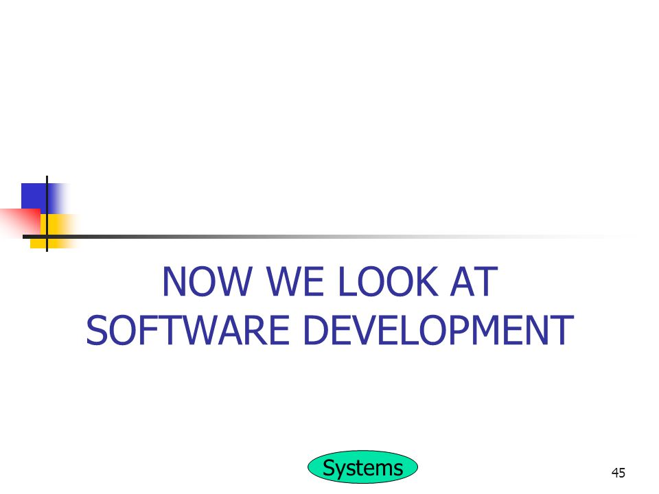 NOW WE LOOK AT SOFTWARE DEVELOPMENT