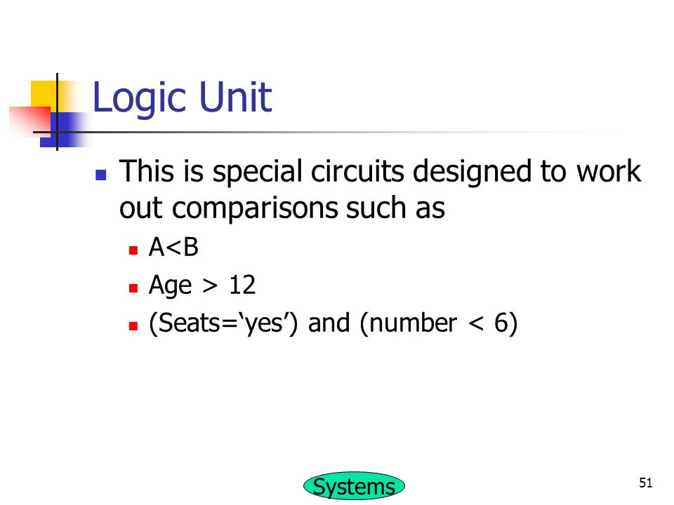 Logic Unit This is special circuits designed to work out comparisons such as.