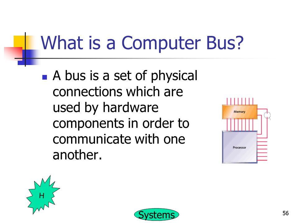 What is a Computer Bus A bus is a set of physical connections which are used by hardware components in order to communicate with one another.