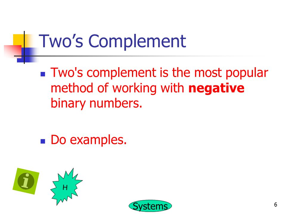 Two's Complement Two s complement is the most popular method of working with negative binary numbers.