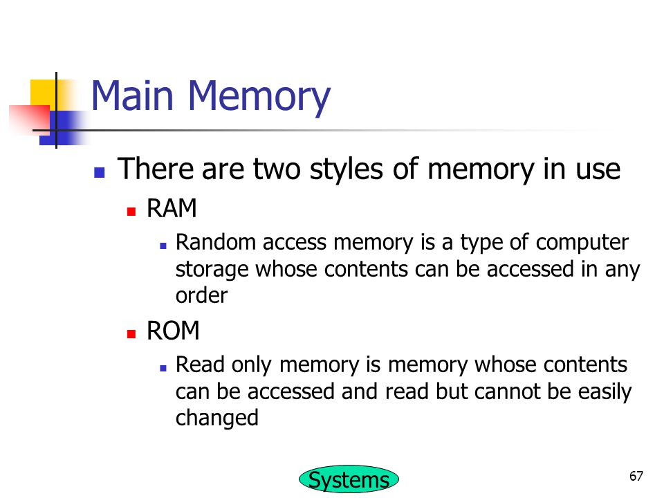 Main Memory There are two styles of memory in use RAM ROM