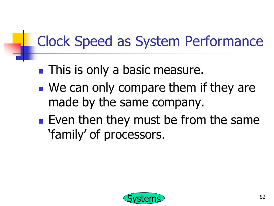 Clock Speed as System Performance