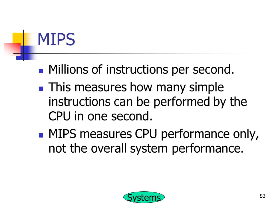 MIPS Millions of instructions per second.