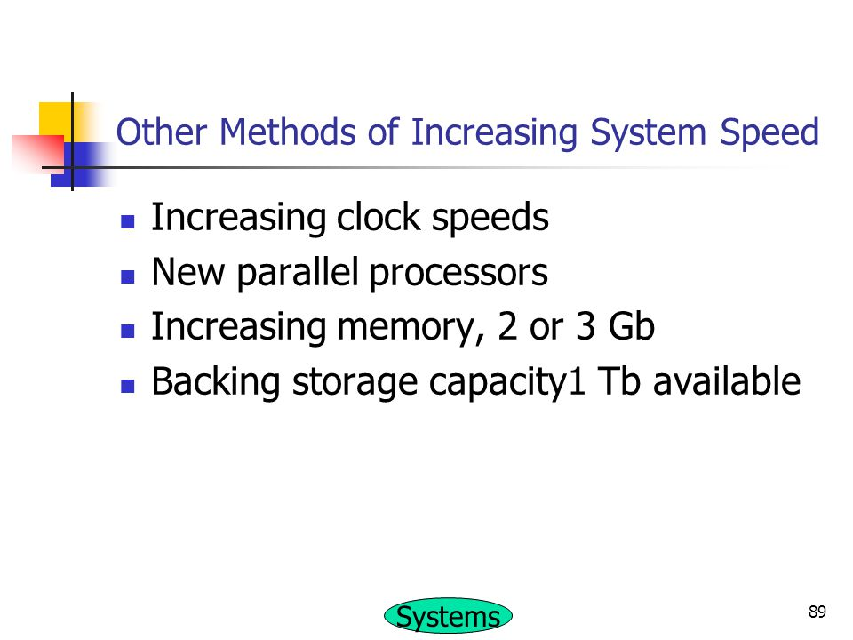Other Methods of Increasing System Speed