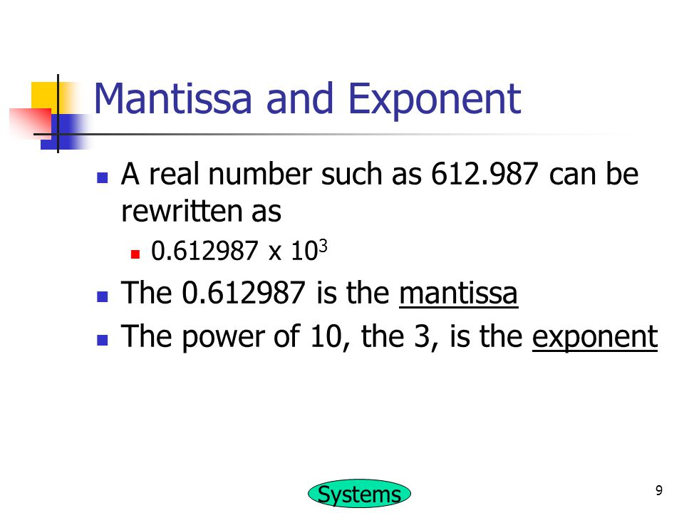 Mantissa and Exponent A real number such as 612.987 can be rewritten as. 0.612987 x 103. The 0.612987 is the mantissa.