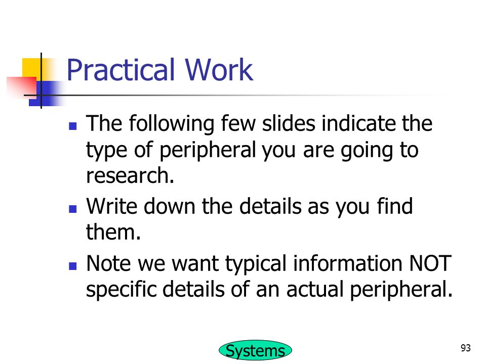 Practical Work The following few slides indicate the type of peripheral you are going to research. Write down the details as you find them.