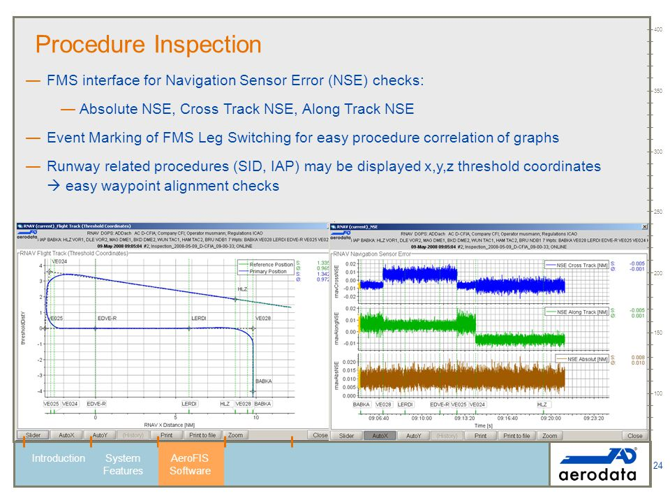 100 150. 200. 250. 300. 350. 400. Procedure Inspection. FMS interface for Navigation Sensor Error (NSE) checks: