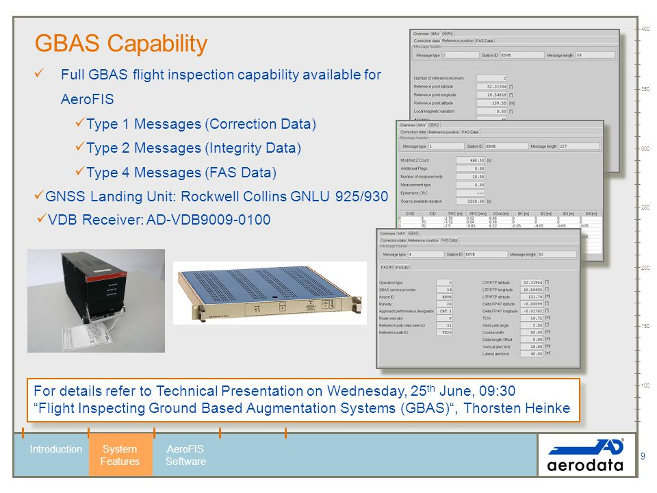 100 150. 200. 250. 300. 350. 400. GBAS Capability. Full GBAS flight inspection capability available for AeroFIS.