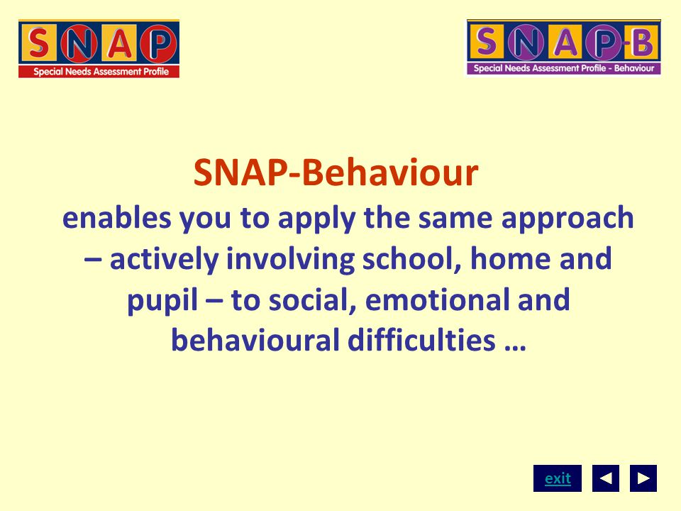 SNAP-Behaviour enables you to apply the same approach – actively involving school, home and pupil – to social, emotional and behavioural difficulties …