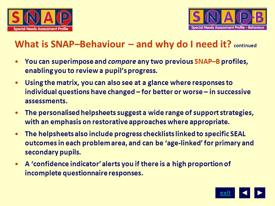 What is SNAP–Behaviour – and why do I need it continued