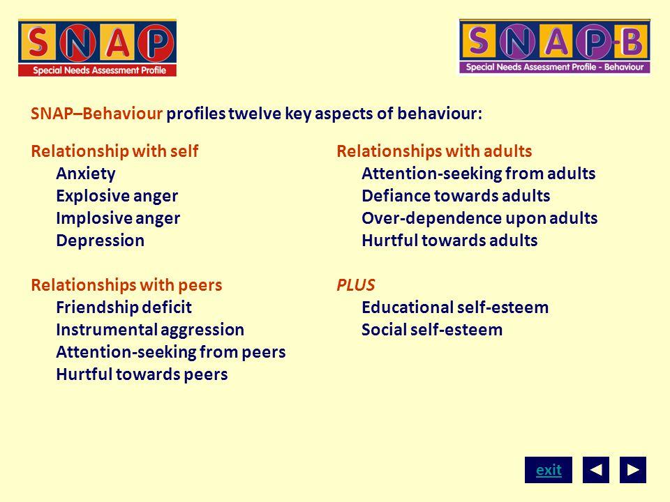 SNAP–Behaviour profiles twelve key aspects of behaviour: