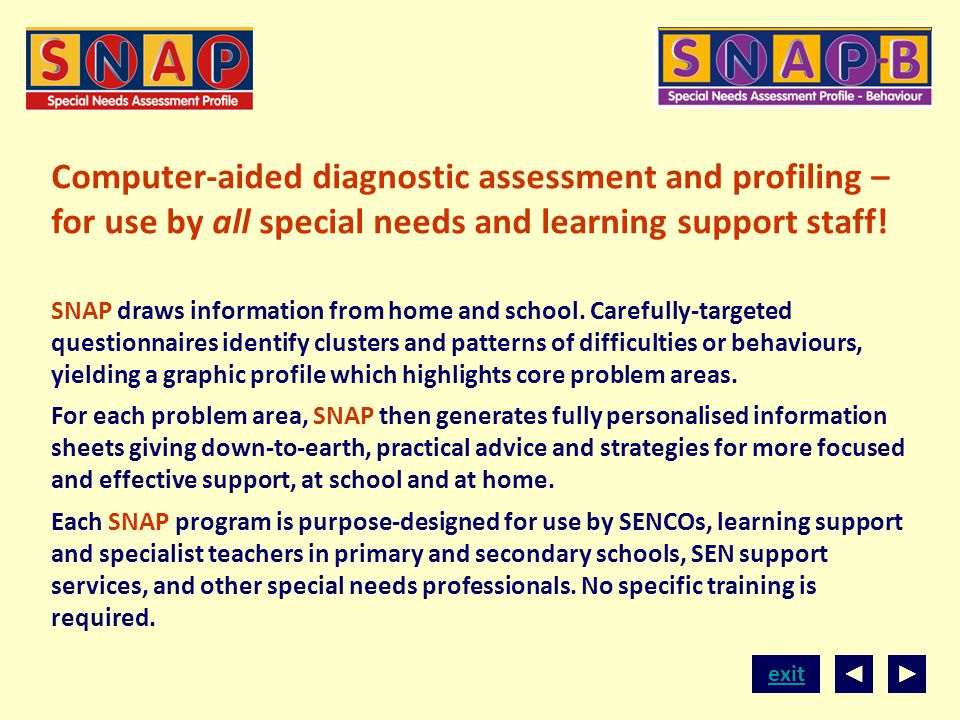 Computer-aided diagnostic assessment and profiling – for use by all special needs and learning support staff!