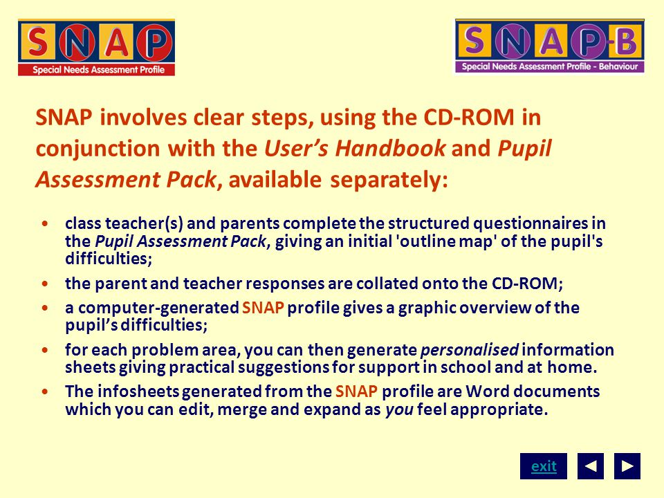 SNAP involves clear steps, using the CD-ROM in conjunction with the User's Handbook and Pupil Assessment Pack, available separately:
