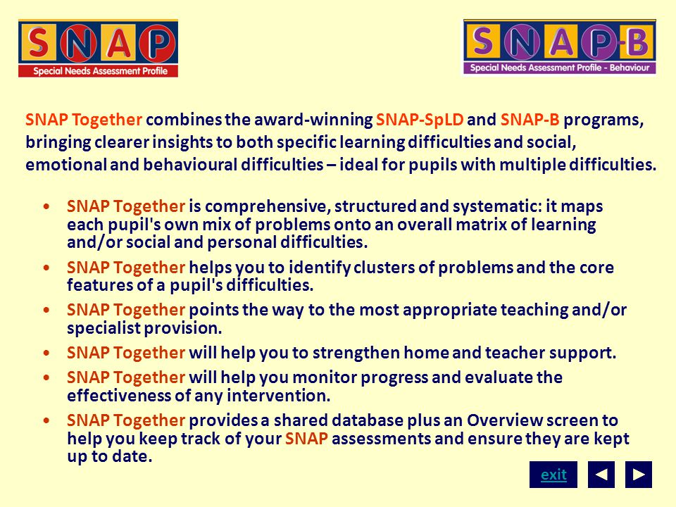 SNAP Together combines the award-winning SNAP-SpLD and SNAP-B programs, bringing clearer insights to both specific learning difficulties and social, emotional and behavioural difficulties – ideal for pupils with multiple difficulties.