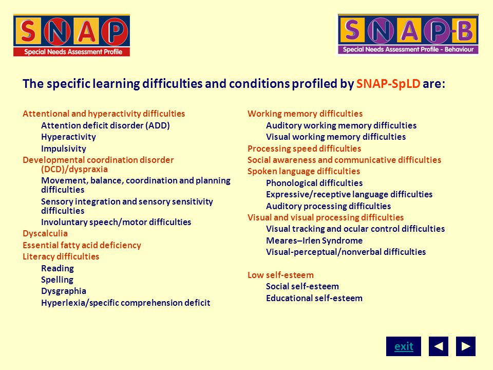 The specific learning difficulties and conditions profiled by SNAP-SpLD are: