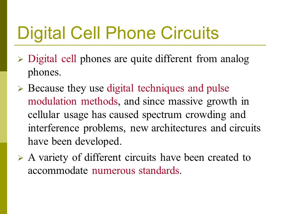 Digital Cell Phone Circuits