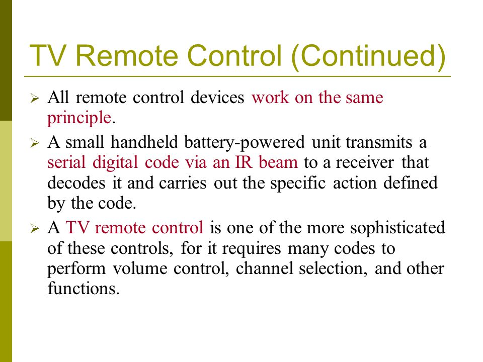 TV Remote Control (Continued)