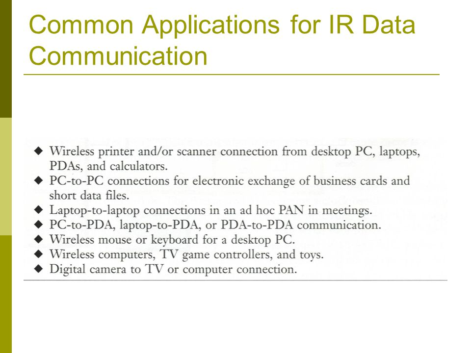 Common Applications for IR Data Communication