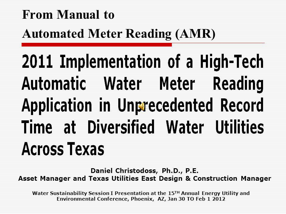 From Manual to Automated Meter Reading (AMR)