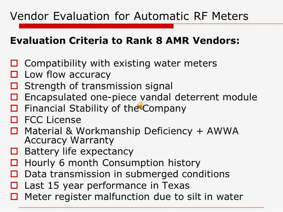 Vendor Evaluation for Automatic RF Meters