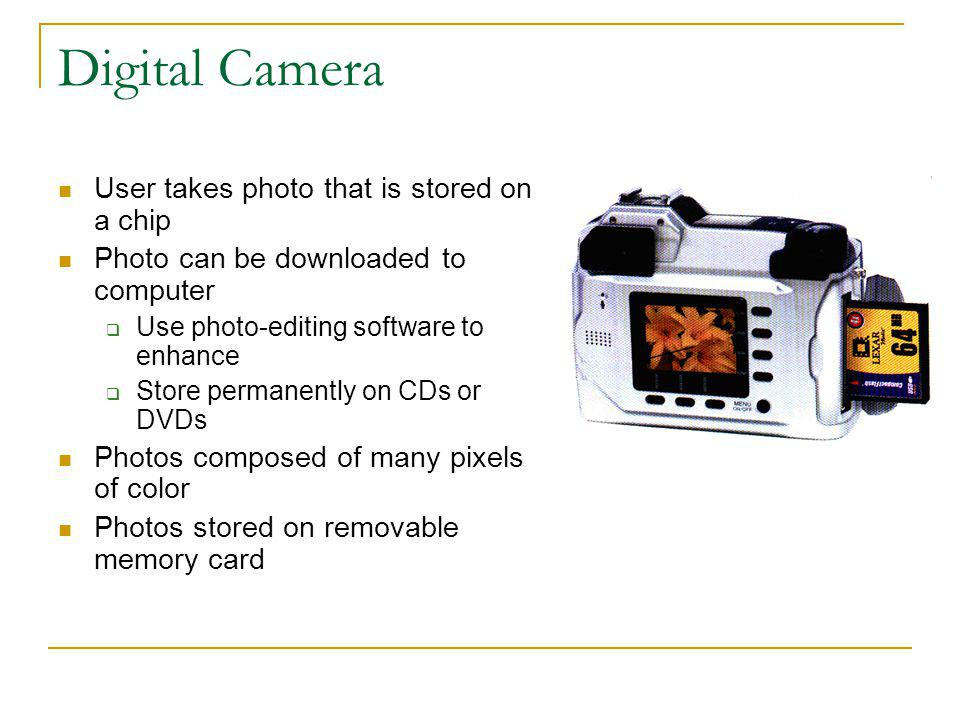 Digital Camera User takes photo that is stored on a chip