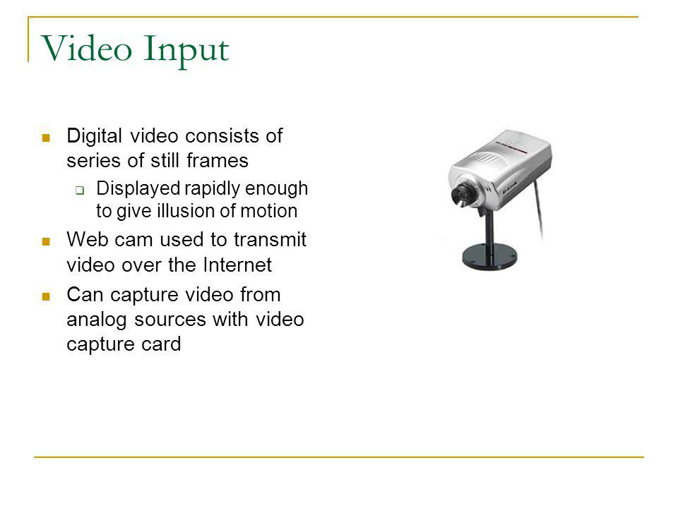 Video Input Digital video consists of series of still frames