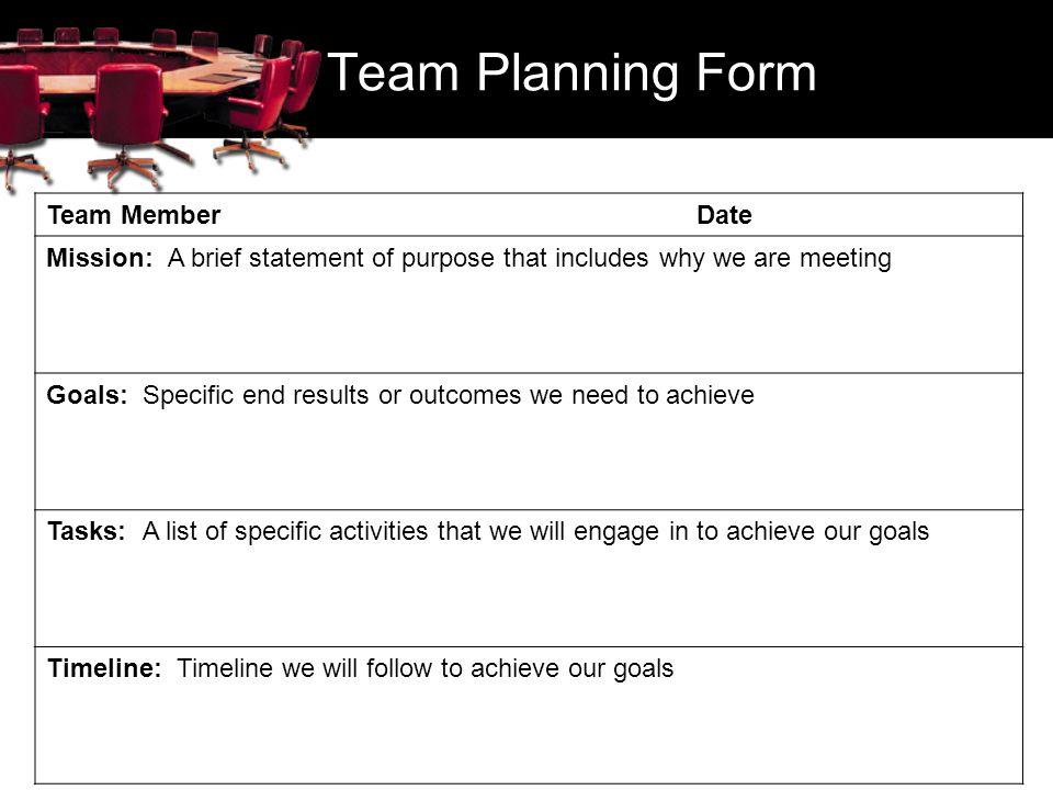Team Planning Form Team Member Date