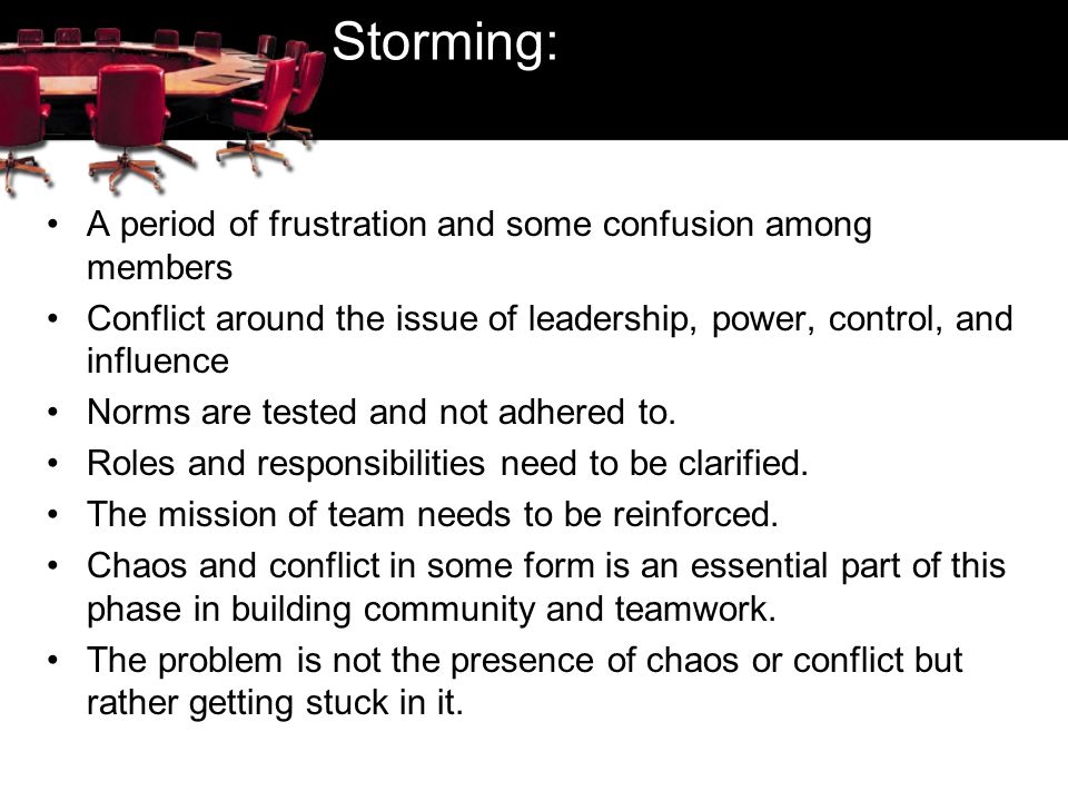 Storming: A period of frustration and some confusion among members