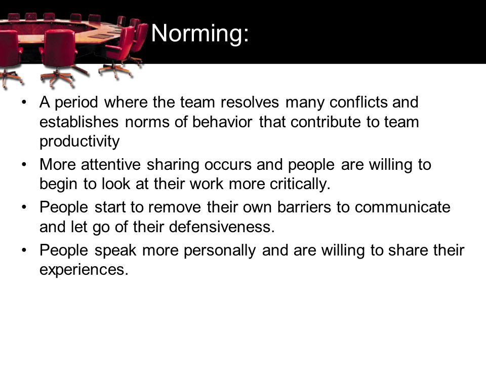 Norming: A period where the team resolves many conflicts and establishes norms of behavior that contribute to team productivity.