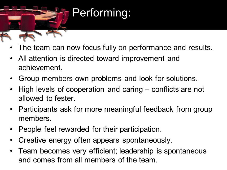 Performing: The team can now focus fully on performance and results.