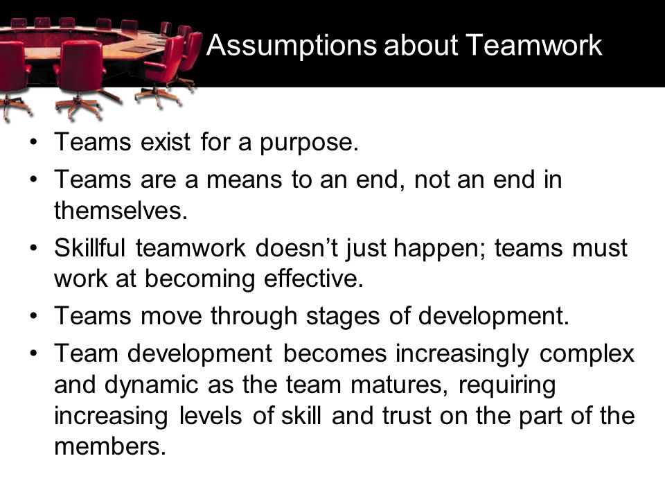 Assumptions about Teamwork
