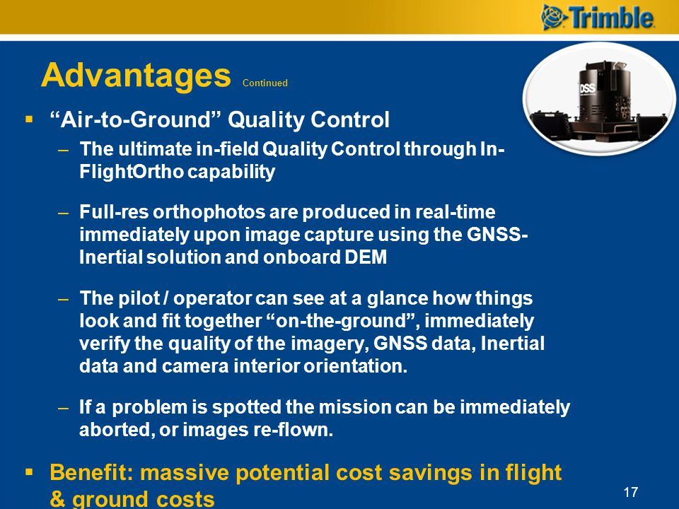 Advantages Continued Air-to-Ground Quality Control