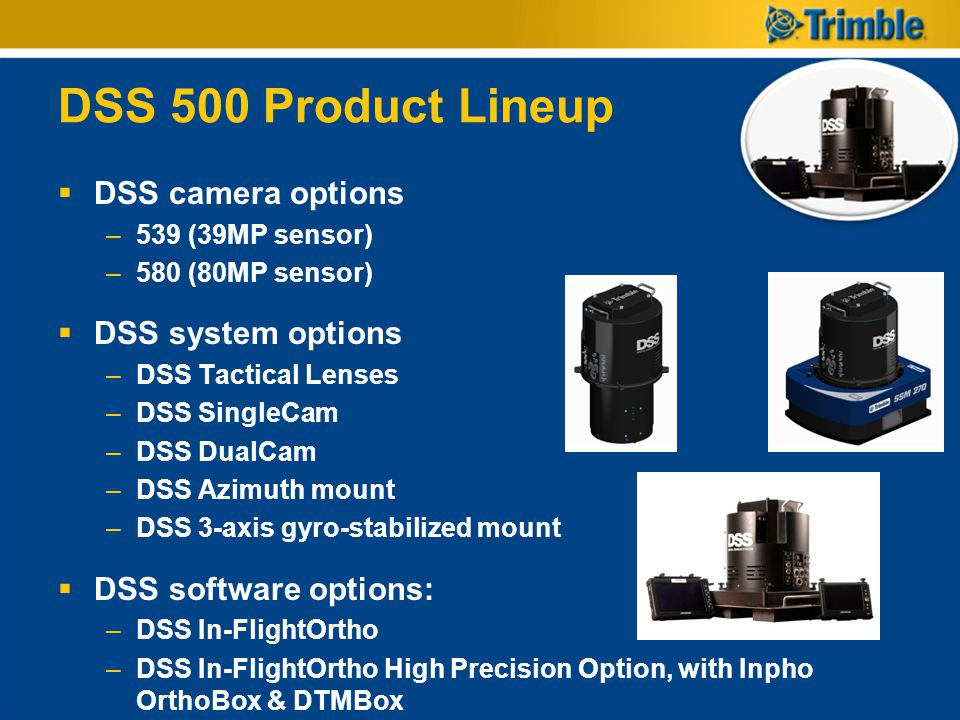 DSS 500 Product Lineup DSS camera options DSS system options