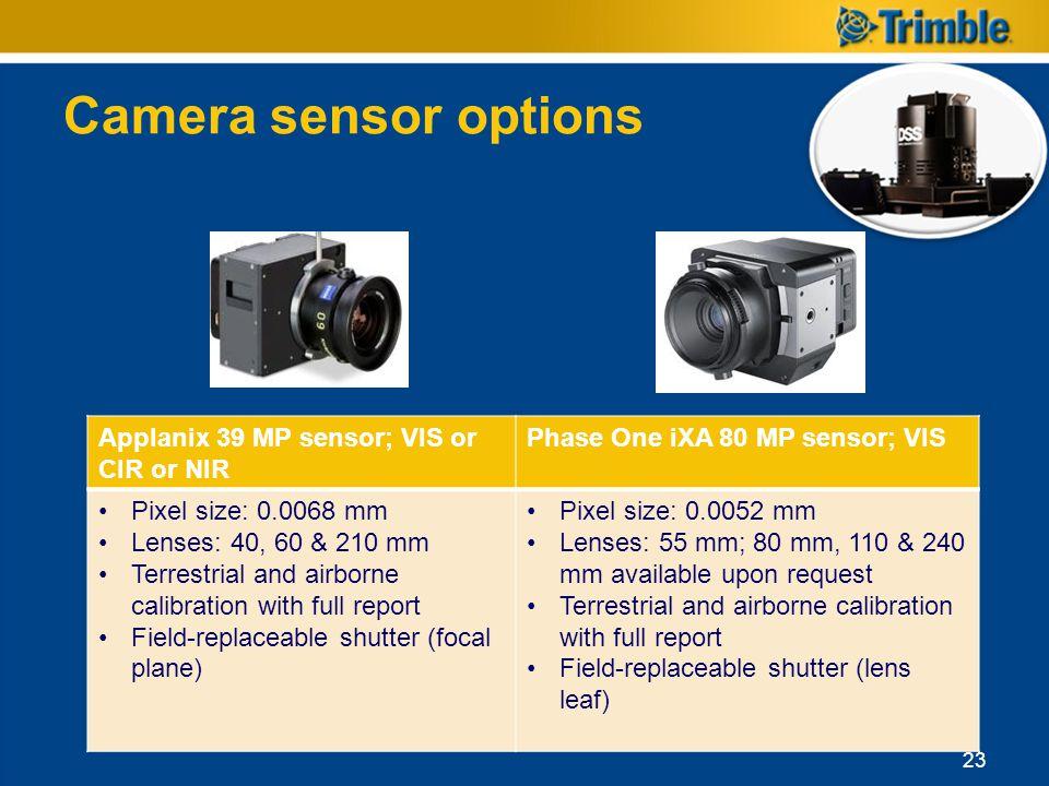 Camera sensor options Applanix 39 MP sensor; VIS or CIR or NIR