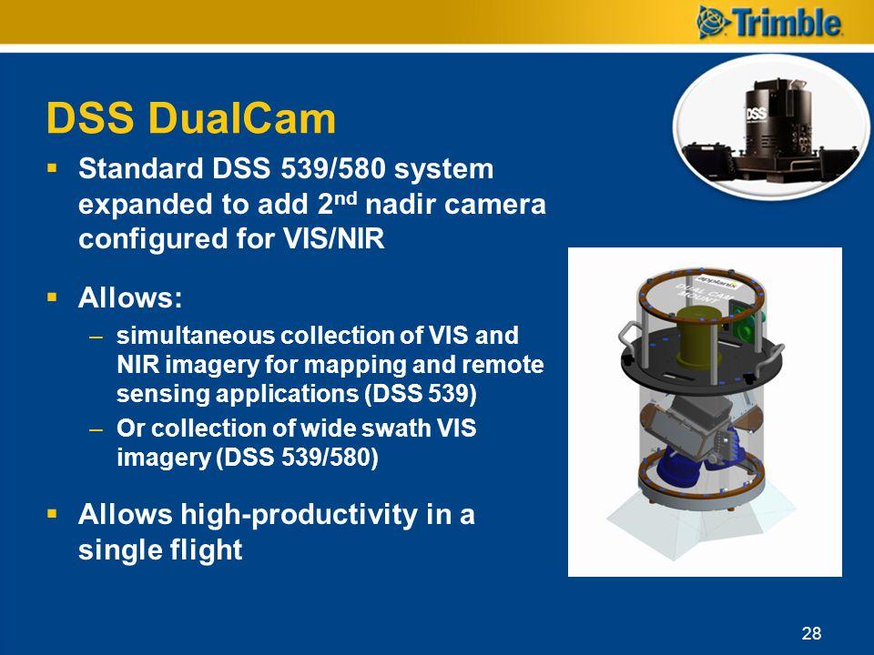DSS DualCam Standard DSS 539/580 system expanded to add 2nd nadir camera configured for VIS/NIR. Allows: