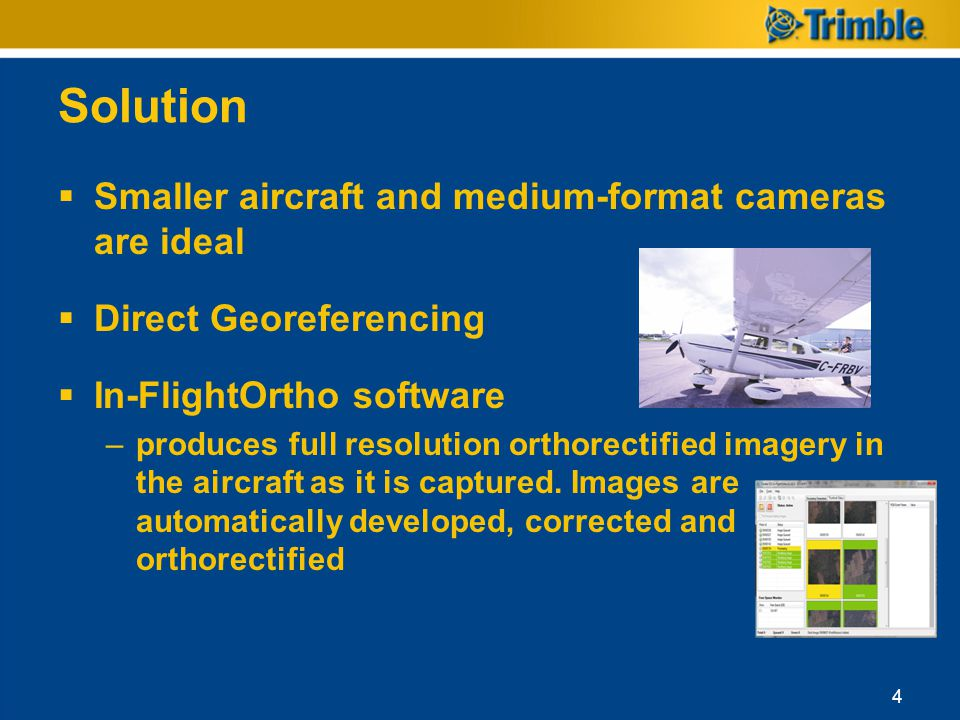 Solution Smaller aircraft and medium-format cameras are ideal