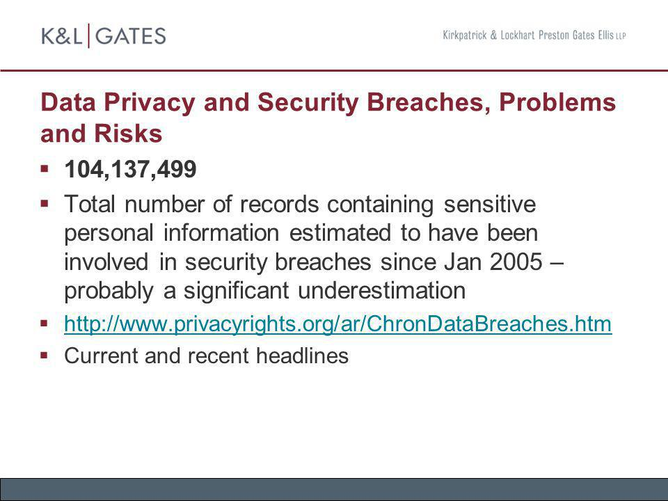 Data Privacy and Security Breaches, Problems and Risks