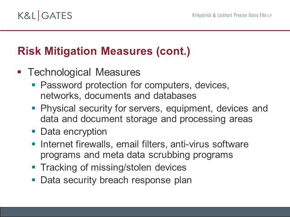 Risk Mitigation Measures (cont.)