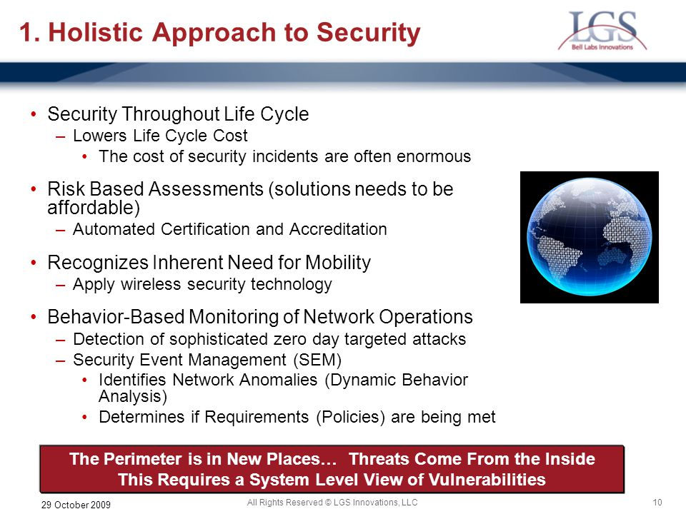 1. Holistic Approach to Security