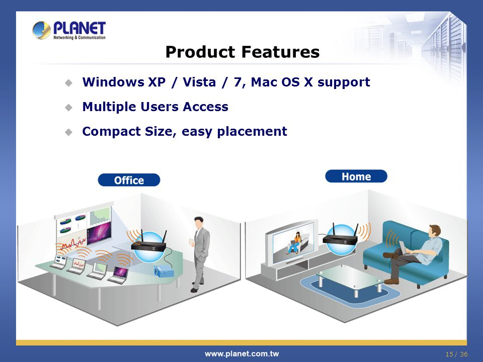 Product Features Windows XP / Vista / 7, Mac OS X support