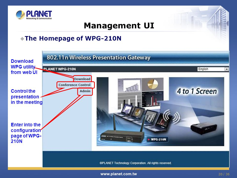 Management UI The Homepage of WPG-210N