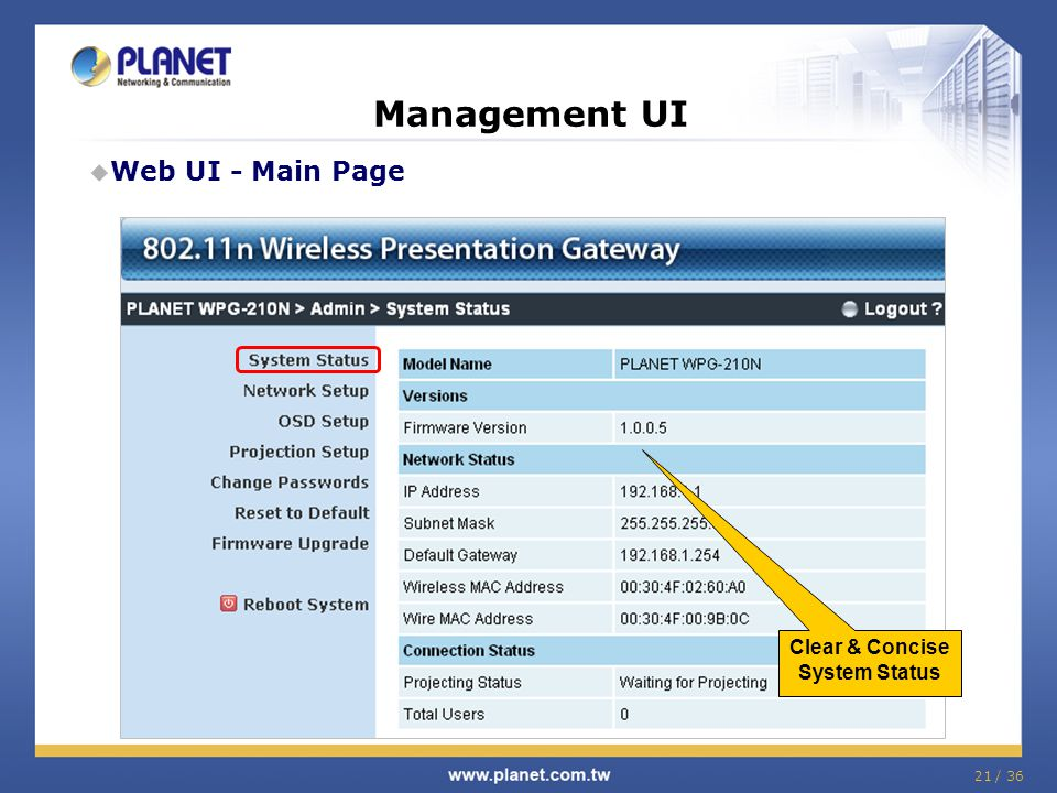 Management UI Web UI - Main Page Clear & Concise System Status