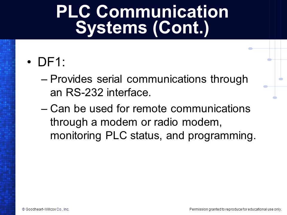 PLC Communication Systems (Cont.)